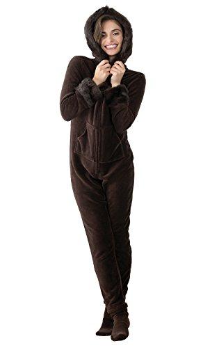 PajamaGram Luxe Onesies for Women - Onsies Pajamas for Women, Chocolate, S, 4-6