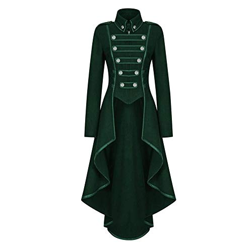 Women's Vintage Costume Tuxedo Steampunk Tailcoat Retro Gothic Victorian Jacket Green L]()