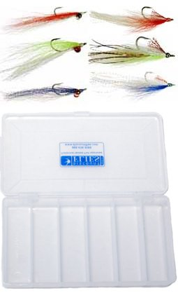 (Clouser Minnow & Deceiver Baitfish Fly Collection - 6 Flies + Fly Box)
