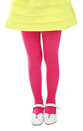 (Girl's Spring Fall Stretch Footed Leggings Microfiber Opaque School Uniform Dance Dress Tights L Hot Pink)