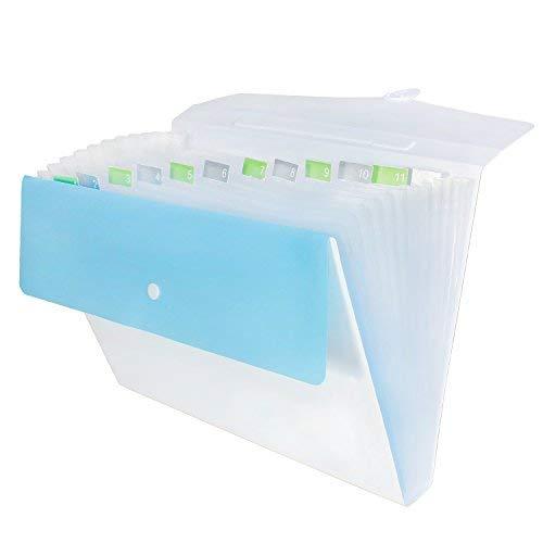 Snail&Hawk 13 Pockets Expanding Accordion File Folder, A4/Letter Size Organizer for School, Blue/White ()