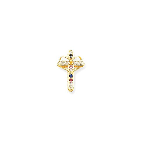 14k Polished Filigree 5-Stone Mothers Cross Pendant Mounting