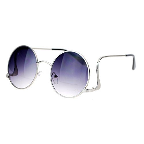 (SA 106 Womens Swan Drop Temple Retro Circle Lens Runway Sunglasses Silver)