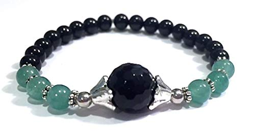 Handmade Black Onyx, Black Tourmaline and Green Aventurine Healing Bracelet 7 Inches