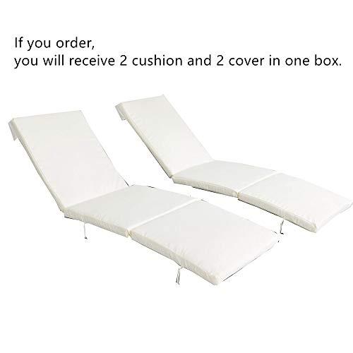 2Pcs Beige Cushion and Cover of Only Jetime Armless and Armed Lounge Chair (Replacement Lounge Chaise Cushions)