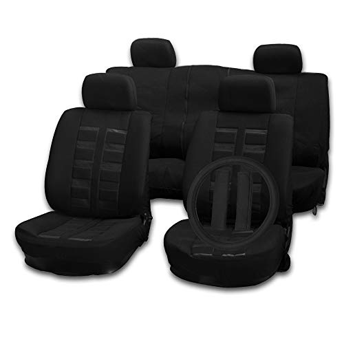 versal Car Seat Cushion w/Headrest Cover/Steering Wheel Cover/Belt Pad - 100% Breathable Car Seat Cover Washable Auto Covers Replacement fit for Most Cars(Black) ()