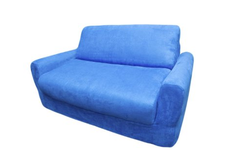 Kid's Micro Suede Sofa Sleeper with Pillows Royal Blue