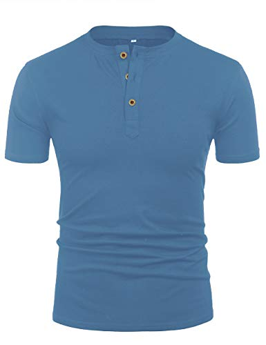 Mens Stylish Short Sleeve Work Henley Shirts Pullover Tshirt Light Blue - Single Stylish Slim