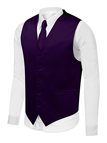 Azzurro Men's Dress Vest Set Neck Tie, Hanky for Suit or Tuxedo ()