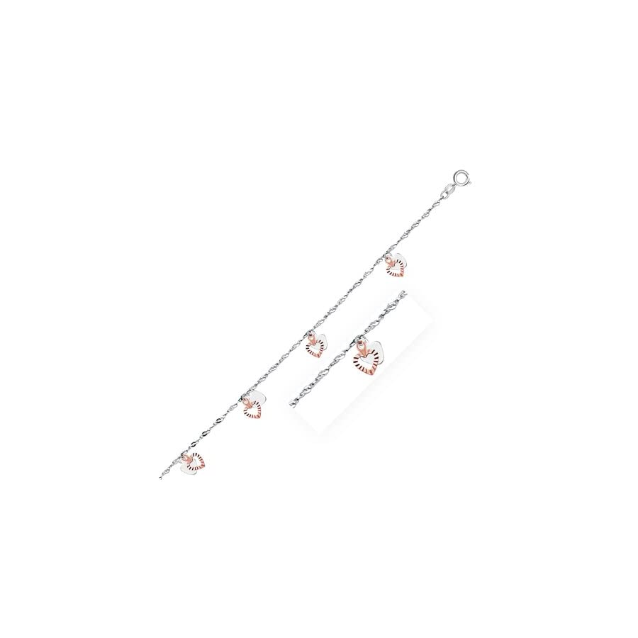 Mia Diamonds 14k White and Rose Gold Anklet with Dual Heart Charms