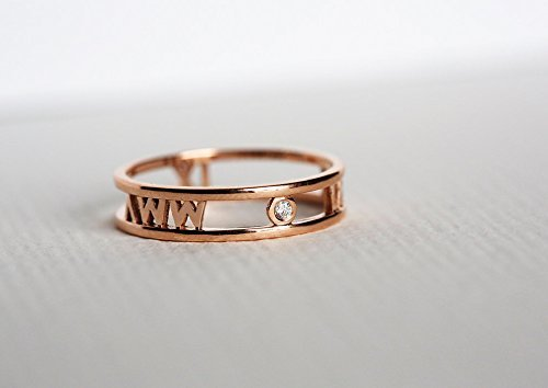 Date Solitaire Ring (Roman Numerals Band, Roman Numerals Ring, Solitaire Diamond Ring, 14k Rose gold)