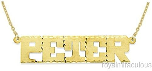 Personalized Satin Finish Diamond Cut Nameplate Necklace 14K 14K White or 14K Yellow Gold by Rylos