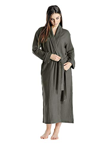 Cashmere Womens Robe - Cashmere Boutique: 100% Pure Cashmere Robe for Women (Color: Charcoal Gray, Size: Small/Medium)