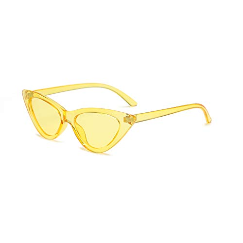 YOSHYA Retro Vintage Narrow Cat Eye Sunglasses for Women Clout Goggles Plastic Frame (Clear ()
