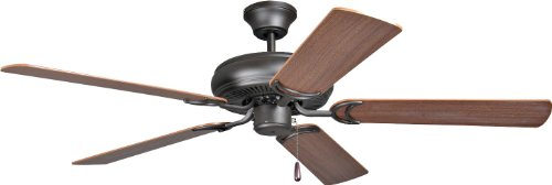 Craftmade DCF52FBZ5 Protruding Mount, 5 Dark Oak/Mahogany Blades Ceiling fan with 57 watts light, French Bronze