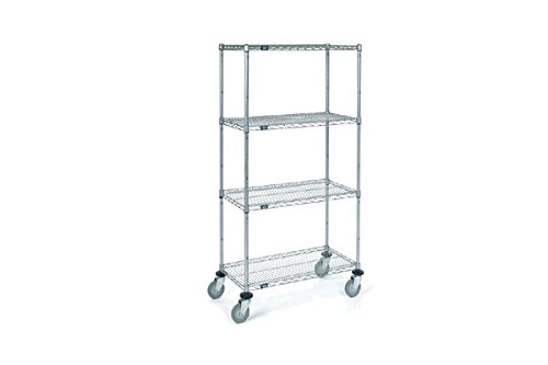 Nexel Wire Shelf Stem Caster Truck, Chrome Finish, 24''W x 48''L x 69''H