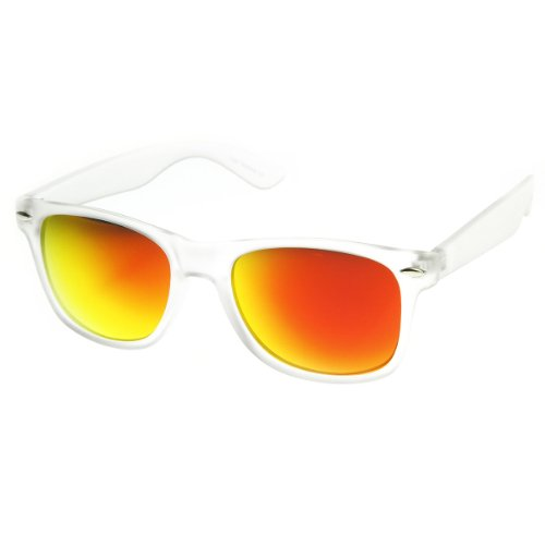 zeroUV - Frosted Frame Color Reflective Mirror Lens Horn Rimmed Sunglasses (Frost Series | - Mirrored Sunglasses Orange