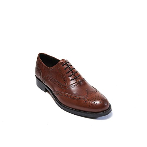 British Passport Scarpa Stringata Francesina con Decorazione Wing Cap di Colore Marrone. Wing Cap Oxford Brown. Uomo.