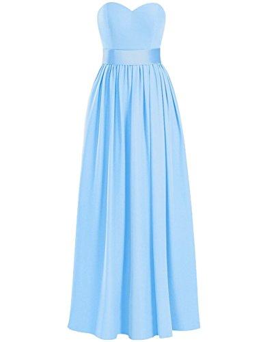 Longue Robes De Demoiselle D'honneur Robe De Bal Chérie En Mousseline De Soie Taille Plus Robes Du Soir Fendus De Sky_blue