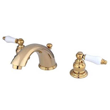Kingston Brass KB962PL Widespread Lavatory Faucet, Polished Brass ...