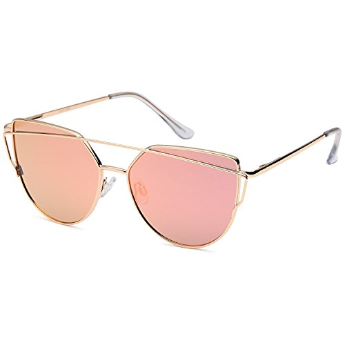 QINKY Womens Cat Eye Aviator Metal Frame Cross Bar Sunglasses with Mirror Flash Flat - Cute Sunglasses Aviator