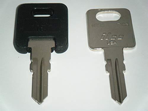 HF334 RV Keys Ilco RV Motorhome Trailer Keys 1 Black Top & 1 Metal Cut to HF334 Working Keys Travel Trailer Motor Home Toy Hauler Keys Replacement Keys FIC -  ILCO U.S.A.