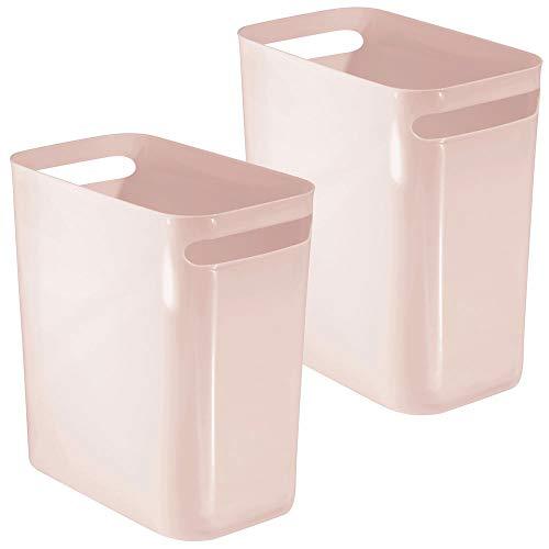 mDesign Slim Plastic Rectangular Large Trash Can Wastebasket, Garbage Container, Handles for Bathroom, Kitchen, Home Office, Dorm, Kids Room - 12