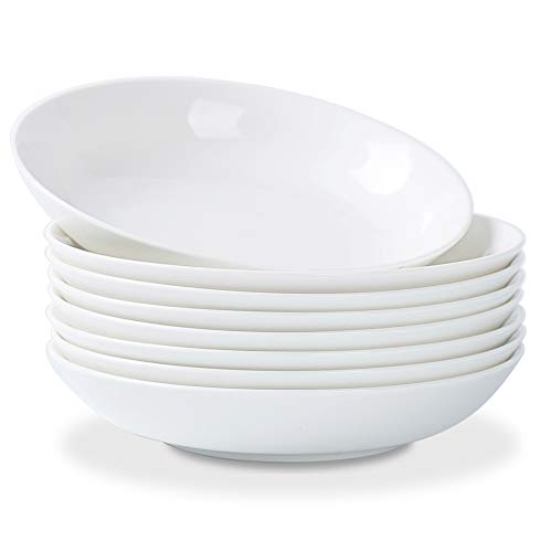 TGLBT Pasta/Salad Bowls 22 Ounce - Set of 8, Serving Bowl Set,White
