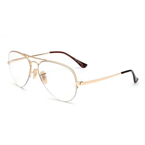 Aviator Blue Light Blocking Computer Glasses Retro Rimless Video Eyeglasses Reduce Eye Strain Anti Glare Clear Lens Men Women ()