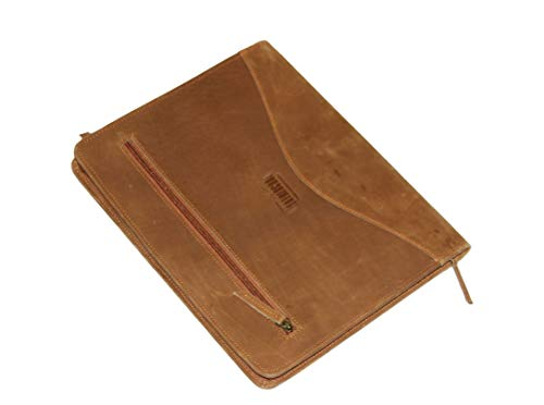 Leather Padfolio/Resume Portfolio Folder - Interview/Legal Document Organizer with Secure Zippered Closure & Business Card Holder for A4 Letter-Sized Pad Compatible with 11''' Laptop Tablet