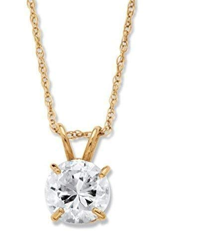 Solid 10k Gold and Solitaire Pendant Necklace Made with Swarovski Zirconia (1 cttw), (18″chain gold filed only)