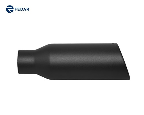 Fedar 2.5'' Inlet 4'' Outlet 12'' Long Rolled End Angle Cut Exhaust Tailpipe Tip (Rolled End Inlet 4')