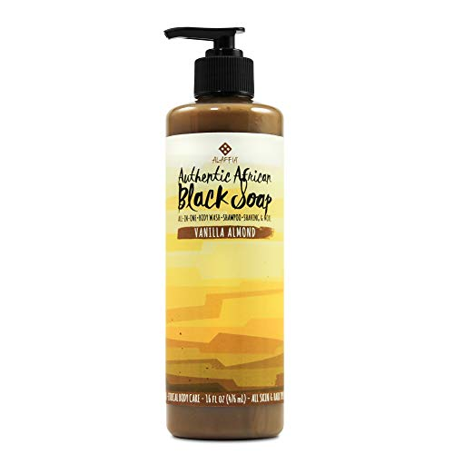 Tangerine Almond - Alaffia, Authentic African Black Soap Liquid, All-in-One Body Wash for All Skin Types, Vanilla Almond, Ethically Traded, Non-GMO, 16 oz