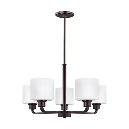 Sea Gull Lighting 3128805-710 Canfield Chandelier, 5-Light 500 Total Watts, Burnt Sienna
