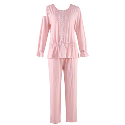 Otoño/invierno ronda pijamas cuello/ pijama de encaje dulce/Servicio de hogar de algodón y encaje/ pijama de las señoras en el hogar/Pijamas C