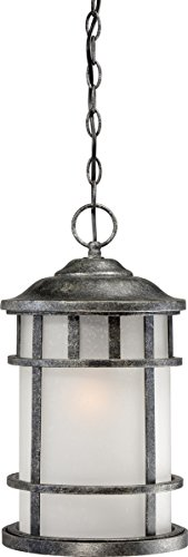 - Nuvo Lighting 60/5634 Manor Industrial Hanging Lantern 100-watt A19 Outdoor Pendant Porch and Patio Lighting Frosted Seed Glass, Aged Silver