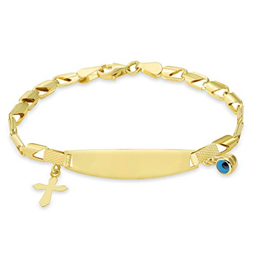 14k Yellow Gold Engravable ID Half-Open Link Bracelet with Evil Eye and Religious Cross Charm, 6
