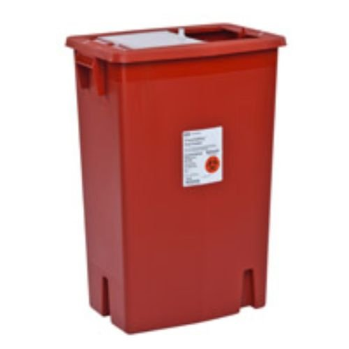 Covidien 8936SA SharpSafety Sharps Container with Gasketed Hinged Lid, 12 gal Capacity, Red (Pack of 10)