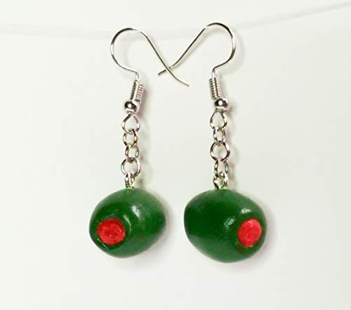 Green Olives with Pimentos Faux Food Drink Jewelry Halloween Christmas]()