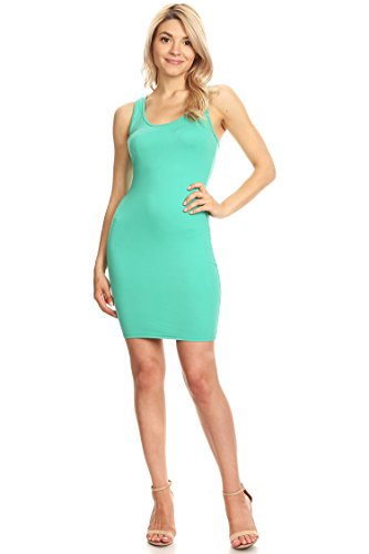 (Casual Sexy Racer-Back Mini Bodycon Dress/Made in USA Mint L)