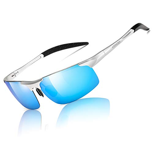 (aisswzber Mens Sports Polarized Sunglasses Driving Metal Frame UV Protection Sunglasses for Men 8177)