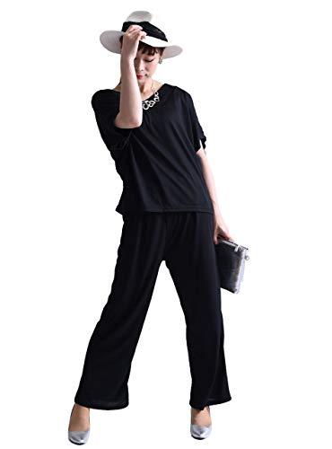 息を切らして名義で名前[ゴールドジャパン] 大きいサイズ レディース セットアップ Vネック トップス ワイドパンツ 半袖 カットソー ウエストゴム