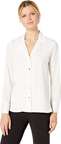 (Calvin Klein Women's Long Sleeve Button Down Top Cream Large)