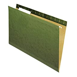 Reinforced Recycled Hanging Folder, 1/3 Cut, Legal, Standard Green, 25/Box, Sold as 25 Each