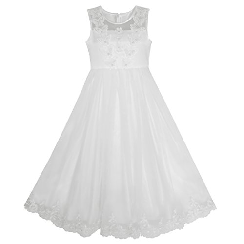 KB71 Flower Girls Dress Lace Hem Butterfly Wedding