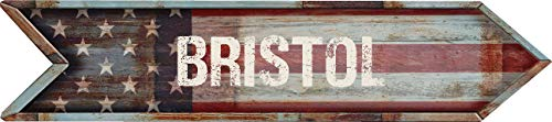 """Any and All Graphics Bristol 4""""x18"""" American Flag Rusted Weathered Antique Vintage Look Composite Aluminum Novelty décor Sign."""