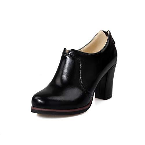 GIY Women's Chunky Platform Oxford Pumps High Heel Round Toe Leather Slip On Zipper Vintage Dress Shoes Black