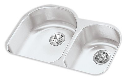 "Harmony Undermount Double Bowl Reveal Sink with Right Prep Sink, Euro Finish and 10"" Depth, Stainless Steel - Elkay ELUHE311910R"