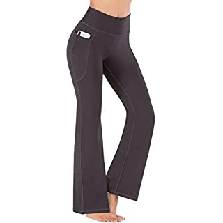Heathyoga Bootcut Yoga Pants for Women with Pockets High Waisted Workout Pants for Women Bootleg Work Pants Dress Pants (Coffee, X-Large)