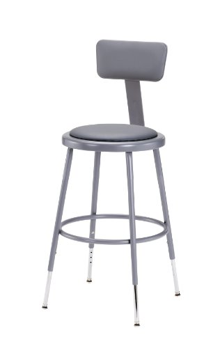National Public Seating 6424HB-CN Steel Stool with Vinyl Upholstered Seat Adjustable and Backrest, 25''-33'', Grey (Pack of 4) by National Public Seating